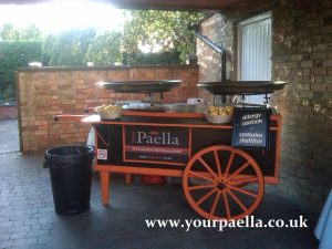 Your Paella's famous Paella Cart. Perfect for any party!