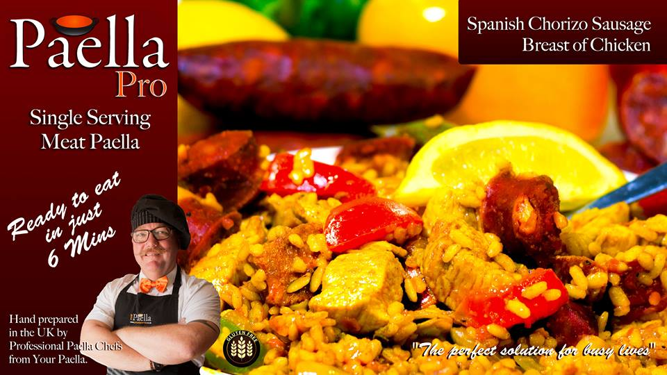Meat Paella frozen single serving ready meal.