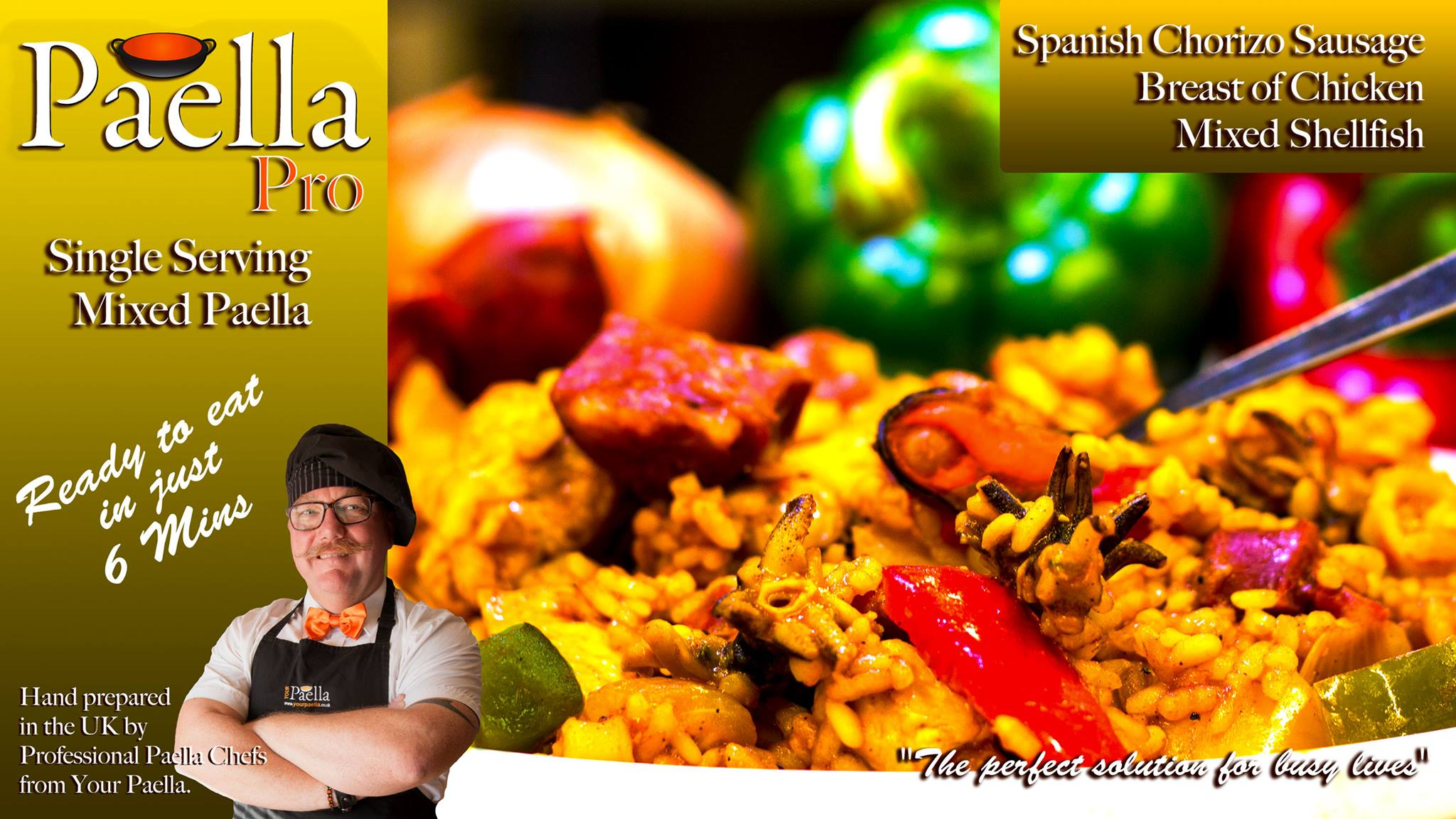 Mixed Paella frozen single serving ready meal.