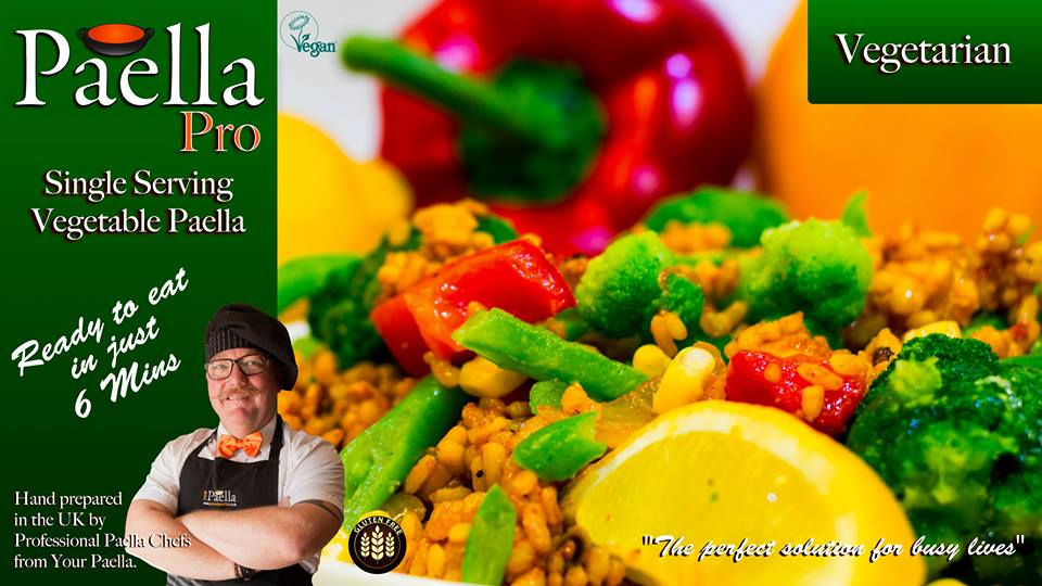 Vegetarian Paella frozen single serving ready meal.