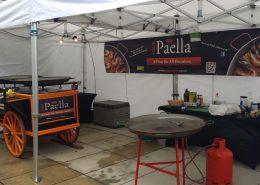Large Paella party set up.