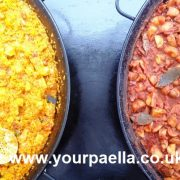 Meat Paella with Potatas Bravas
