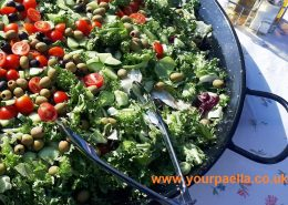 Mixed green salad with tomato, cucumber and olives.